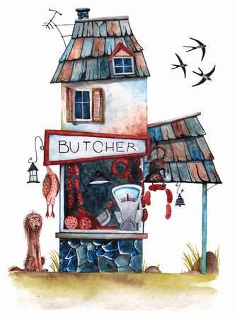 Butchers house. A showcase with sausages and those who wish to eat. Watercolor drawing.