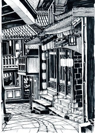 Chinese street with ancient architecture. Ink Sketches. 写真素材