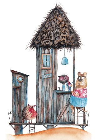 Animals on vacation. Hawaiian bar with visitors. Watercolor drawing. Banco de Imagens