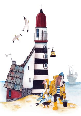 Fishermans house with a lighthouse. Goose and dog with a catch. Watercolor drawing. Banco de Imagens