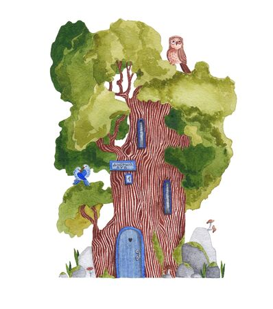 A tree with the inscription Good Oak. Watercolor drawing.