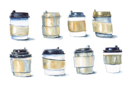 Stylized cups with coffee. Watercolor set on a white background.