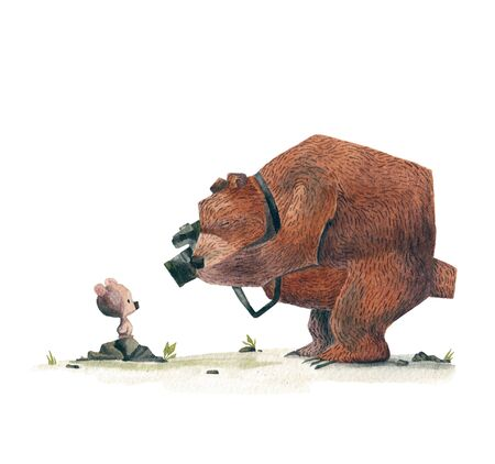 A bear photographing a little son. Watercolor drawing. Banco de Imagens