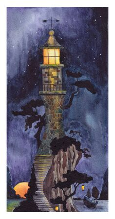 Japanese lighthouse on the shore at night. Watercolor drawing. Banco de Imagens
