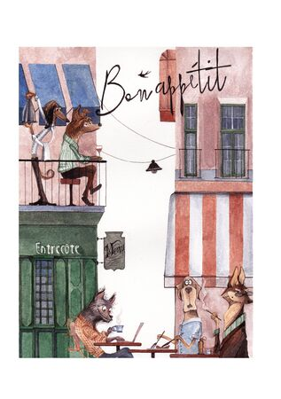 Parisian street with a cafe. Watercolor illustration.