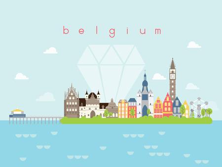 tourney: Belgium Landmarks Travel and Journey Vector Illustration