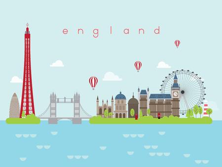 England Landmarks Travel and Journey Vector Illustration