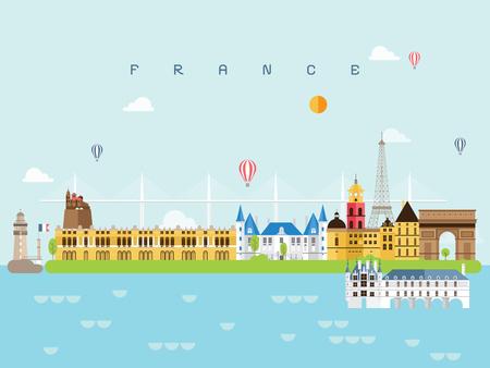 France Landmarks Travel and Journey Vector  イラスト・ベクター素材