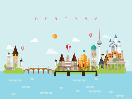 Germany Landmarks Travel and Journey Vector Illustration