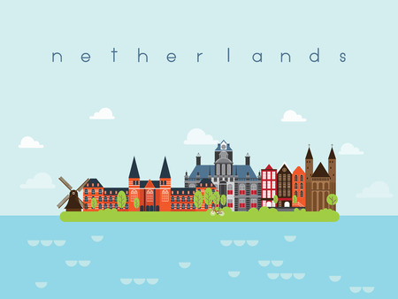 european culture: Netherlands Landmarks Travel and Journey Vector
