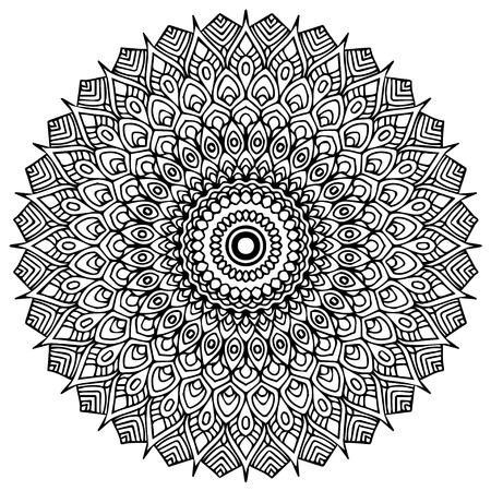 Mandalas para colorear. Adornos decorativos redondos. Forma de flor inusual. Vector oriental, patrones de terapia antiestrés. Tejer elementos de diseño. Vector de logotipos de yoga. Logos