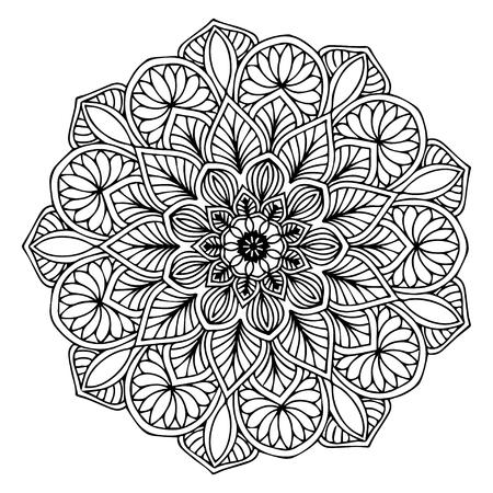 Mandalas para colorear libro. Adornos redondos decorativos. Forma de flor inusual. Vector oriental, patrones de terapia antiestrés. Tejer elementos de diseño. Vector de logotipos de yoga.