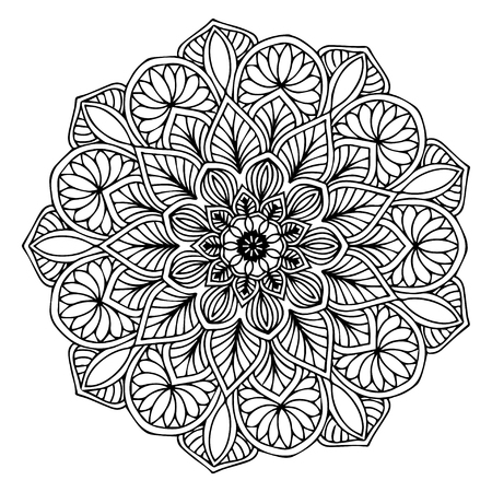 Mandalas zum Ausmalen. Dekorative runde Ornamente. Ungewöhnliche Blütenform. Orientalischer Vektor, Anti-Stress-Therapiemuster. Designelemente weben. Yoga-Logos Vektor.
