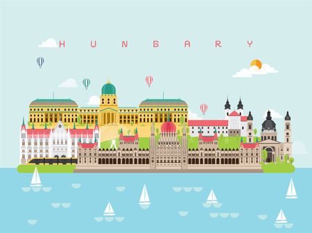 Hungary Famous Landmarks Infographic Templates for Traveling Minimal Style and Icon, Symbol Set Vector Illustration Can be use for Poster Travel book, Postcard, Billboard. Vektorové ilustrace