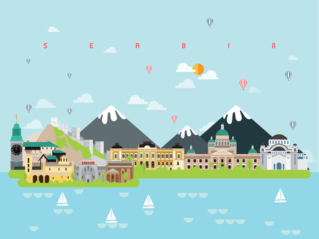 Serbia Famous Landmarks Infographic Templates for Traveling Minimal Style and Icon, Symbol Set Vector Illustration Can be use for Poster Travel book, Postcard, Billboard.