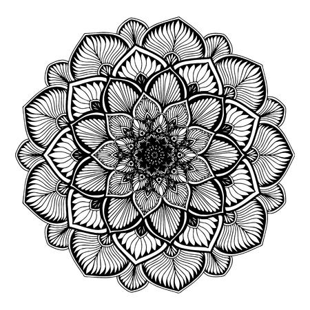 Mandala per libro da colorare. Ornamenti rotondi decorativi. Forma insolita del fiore. Vettore orientale, modelli di terapia anti-stress. Intrecciare elementi di design. Loghi di yoga vettore.