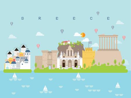 Griechenland berühmte Sehenswürdigkeiten Infografik-Vorlagen für das Reisen Minimaler Stil und Symbol, Symbolsatz-Vektor-Illustration kann für Poster-Reisebuch, Postkarte, Billboard verwendet werden. Vektorgrafik