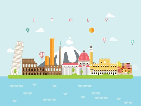 Italy Famous Landmarks Infographic Templates for Traveling Minimal Style and Icon, Symbol Set Vector Illustration Can be use for Poster Travel book, Postcard, Billboard.