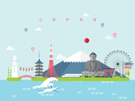 Japan Famous Landmarks Infographic Templates for Traveling Minimal Style and Icon, Symbol Set Vector Illustration Can be use for Poster Travel book, Postcard, Billboard.