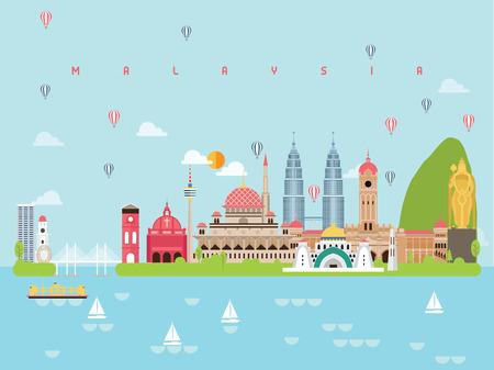 Las plantillas de infografía de monumentos famosos de Malasia para viajar estilo minimalista e icono, ilustración de vector de conjunto de símbolos se pueden utilizar para libros de viajes de carteles, postales, carteleras