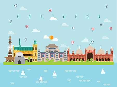 Pakistan Famous Landmarks Infographic Templates for Traveling Minimal Style and Icon, Symbol Set Vector Illustration Can be use for Poster Travel book, Postcard, Billboard.