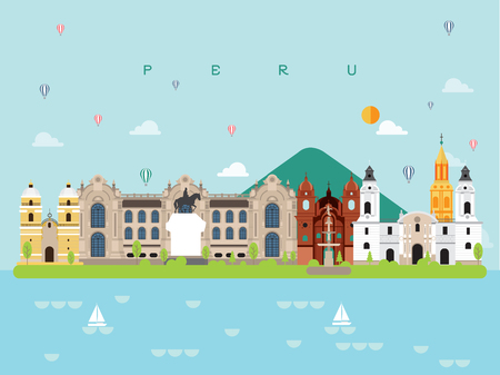 Peru Famous Landmarks Infographic Templates for Traveling Minimal Style and Icon, Symbol Set Vector Illustration Can be use for Poster Travel book, Postcard, Billboard. Foto de archivo - 102688744