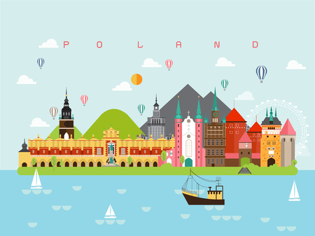 Poland Famous Landmarks Infographic Templates for Traveling Minimal Style and Icon, Symbol Set Vector Illustration Can be use for Poster Travel book, Postcard, Billboard.