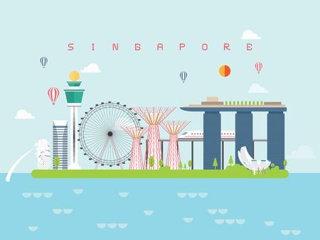 I modelli di infografica famosi punti di riferimento di Singapore per viaggiare in stile minimal e icona, illustrazione vettoriale del set di simboli possono essere utilizzati per il libro di viaggio Poster, cartolina, cartellone.