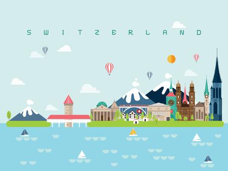 Suiza famosos monumentos infografía plantillas para viajar estilo minimalista e icono, ilustración de vector de conjunto de símbolo se puede utilizar para cartel libro de viaje, postal, cartelera.