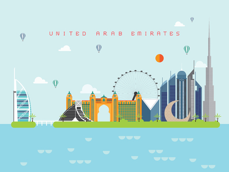 United Arab Emirates Famous Landmarks Infographic Templates for Traveling Minimal Style and Icon, Symbol Set Vector Illustration Can be use for Poster Travel book, Postcard, Billboard.