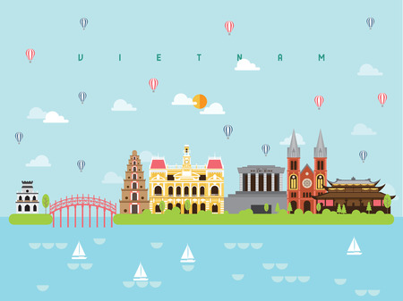 Vietnam Famous Landmarks Infographic Templates for Traveling Minimal Style and Icon, Symbol Set Vector Illustration Can be use for Poster Travel book, Postcard, Billboard. Stock Vector - 102688757