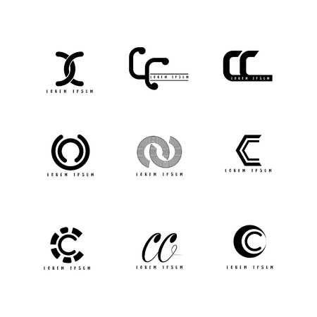 Cc Logo Vector, Design Letter with Creative Font Set. Illustration