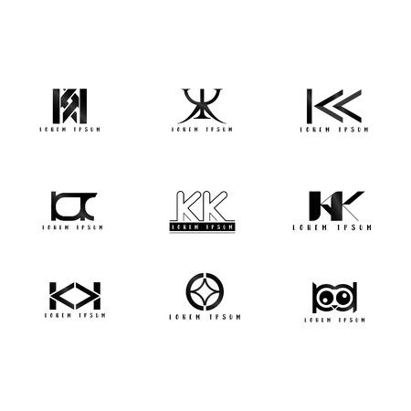 Kk Logo Vector, Design Letter with Creative Font Set. Stock Vector - 109589049