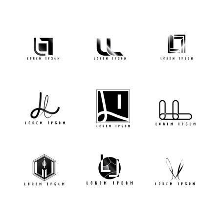 Ll Logo Vector, Design Letter with Creative Font Set.