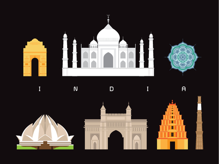 India Famous Landmarks Vector Icon Set.