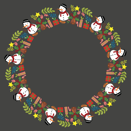 Christmas Wreath with Round Frame for Cards Design Vector Layout with Copyspace Can be use for Decorative Kit, Invitations, Greeting Cards, Blogs, Posters, Merry Christmas and Happy New Year.