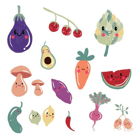 Cute cartoon fruit and vegetable characters, icons, Illustration set: carrot, tomato, avocado, mushroom, potato, lemon, design for cards, banners, printed materials.