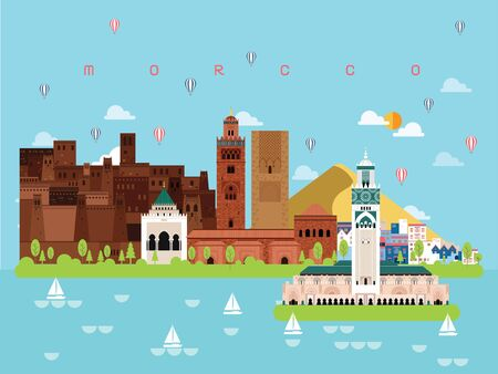 Morocco Famous Landmarks Infographic Templates for Traveling Minimal Style and Icon, Symbol Set Vector Illustration Can be use for Poster Travel book, Postcard, Billboard.