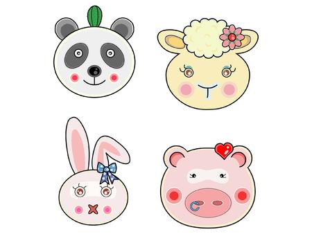 piggish: Vectors cute animals face