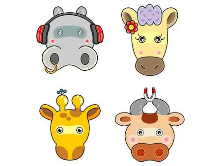 hippo: Vectors cute animals face