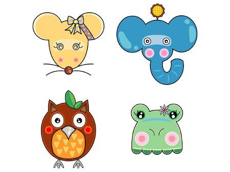 Vectoren schattige dieren gezicht Stock Illustratie