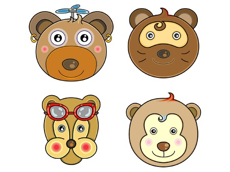 Vectors cute animals face Vector