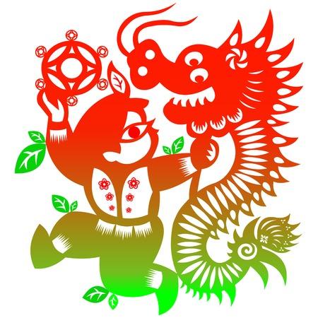 lion dance: lion dance Illustration