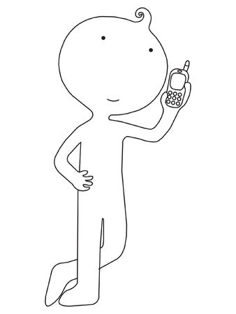 Mascot character on the phone  Vector