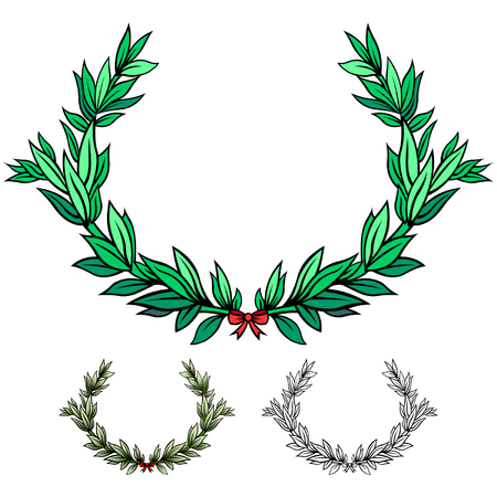 olive wreath: Vectorized laurel wreath with ribbon Illustration