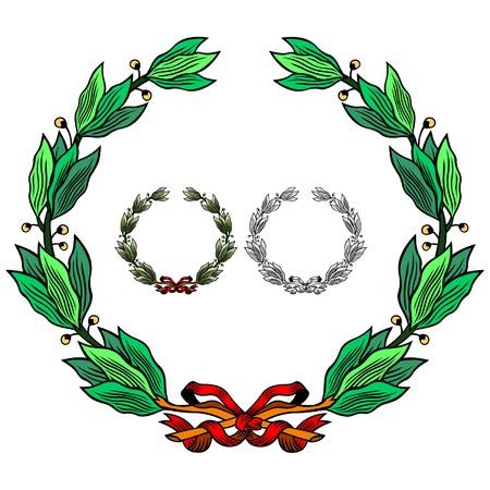 Vectorized laurel wreath with ribbon Vector