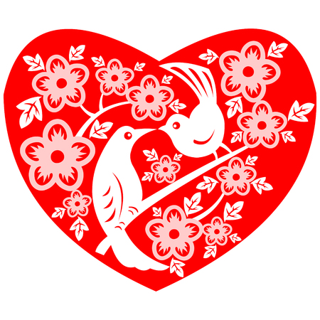 Valentine - A couple of loving birds stay together in the love heart shape. Vector