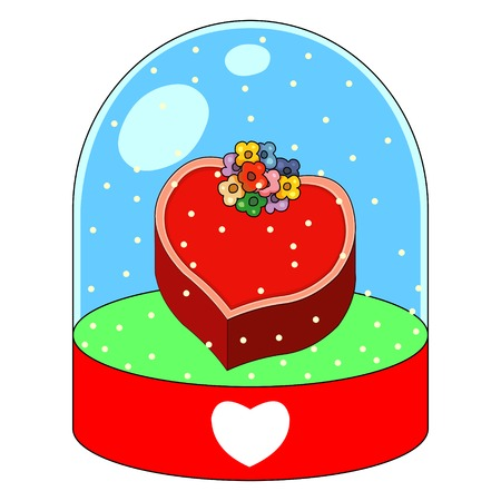 Cute Valentine cartoons in a crystal ball. Vector