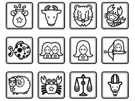 dierenriem pictogram set Stock Illustratie