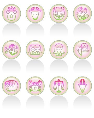 Button stijl van de dierenriem icon set